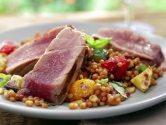 Grilled Tuna with Grilled Ratatouille Couscous and Deconstructed Pesto Recipe : Bobby Flay : Food Network Grilled Tuna Steaks, Tuna Steak Recipes, Grilling Recipes, Seafood Recipes, Cooking Recipes, Healthy Recipes, Healthy Eats, Seared Tuna, Rezepte