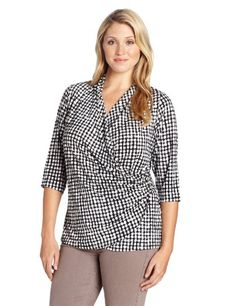 Karen Kane Women's Plus-Size Wrap Top with Buckle, Plaid, 2X Faux wrap. Buckle can't be removed.  #Karen_Kane #Apparel
