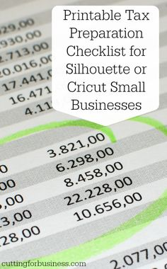 Printable Tax Prep Checklist for Silhouette or Cricut Small Businesses by cuttingforbusiness.com