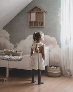 Create the bedroom of your dreams! Beautiful space created by featuring our wallpaper - Blush Clouds Daydream. Kids Bedroom Wallpaper, Cloud Wallpaper, Wallpaper Decor, Cloud Bedroom, Scandinavian Wallpaper, Whimsical Nursery, House Shelves, Baby Nursery Themes, Room Themes