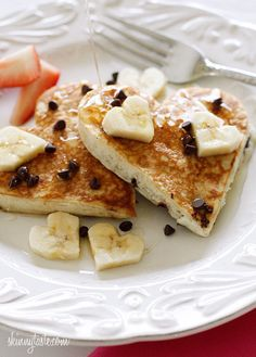 Skinny Heart Shaped Banana Chocolate Chip Pancakes | Community Post: 23 Lovely Reasons To Do Breakfast In Bed This Valentine's Day