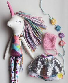 "Unicorn Doll. 18"" ish Luxe Rainbow Silver Star Unicorn. OOAK Handmade Cloth Heirloom Doll. Unicorn Doll, Unicorn Gifts, Unicorn Party, Homemade Dolls, Bone Crafts, Beautiful Unicorn, Fabric Animals, Dollhouse Accessories, Bear Doll"