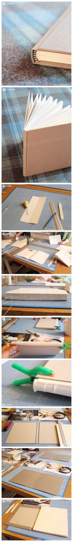 Bookbinding tutorial by nic heart Handmade Notebook, Diy Notebook, Handmade Books, Faire Un Album Photo, Book Crafts, Paper Crafts, Bookbinding Tutorial, Book Journal, Journals