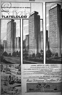 Publicada de los edificios del Conjunto Urbano Nonoalco-Tlatelolco ubicado en la Paseo de la Reforma, Novedades, 14 de enero de 1968 Foto. Eumelia Hernández Vázquez Arqs. Mario Pani y Luis Ramo - Advetisement of the Urban Housing Nonoalco-Tlatelolco located on the Paseo de la Reforma, Mexico City, from an issue of Novedaded, Janary 14, 1968