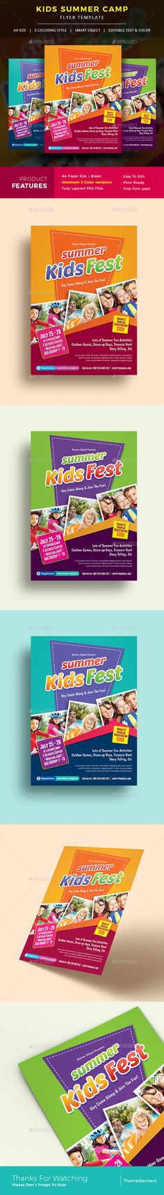 Kids Summer Camp Flyer — Photoshop PSD #school #spring camp • Available here → https://graphicriver.net/item/kids-summer-camp-flyer/19738486?ref=pxcr