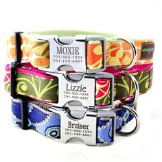 Personalized Lazer Engraved Metal Buckle Dog Collar - 17 Classic Cotton styles to choose from