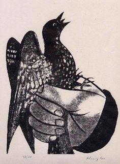 Hunziker,Max : Die TAUBE in der HAND - - Handsignierte Handätzung des SCHWEIZER Surrealisten