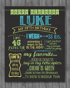 All About Me Birthday Interview Chalkboard Poster by JustAPeekAHoo, $15.00