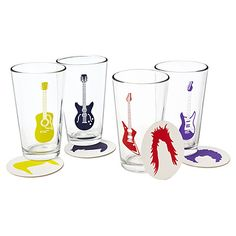 Look what I found at UncommonGoods: guitar glasses and coasters... @Andrea / FICTILIS Mitchael y'all need these.  :)