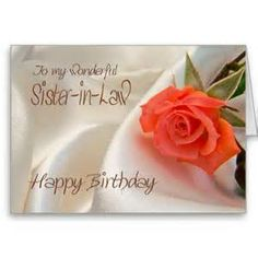 Sister In Law A Birthday Card With Pink Rose Wishes For