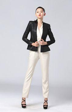 我的新衣 职场主题 GRACE CHEN 《律政俏佳人》系列  林志玲战队 黑色收腰荷叶单扣下摆时髦小西装