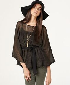 Bar III Top, Metallic Belted Poncho Blouse