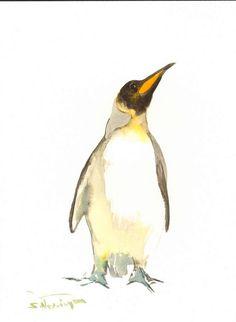 Penguin original watercolor painting King penguin by ORIGINALONLY