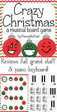 Christmas Music Game- review the entire grand staff and piano keyboard with this festive board game!