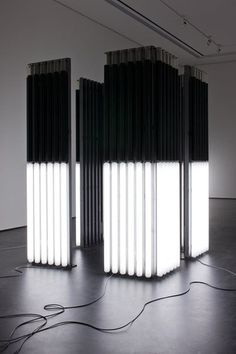 Andrei Molodkin - Cube Acrylic tubes filled with crude oil and argon gas | Black | Neon