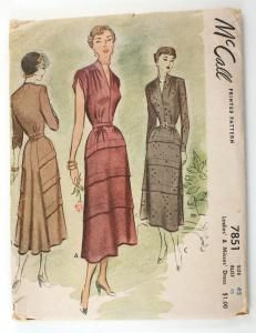 McCall 7851 Vintage 1940s Evening Dress Pattern Bust 42 Flared Back Sewing Pattern Horizontal Tucks
