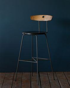 CONFIRMED QTY 4 COUNTER HEIGHT in black iron with wood seat and back as pictured