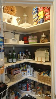 Pantry organizing. Lazy Susans in the corners - genius!