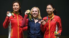 #TeamUSA has it's first gold medal with Ginny Thrasher winning the women's 10m air rifle event! #Rio2016