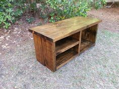 Rustic Decor Wood Bench With Shoe Rack and by CoastalOakDesigns
