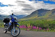 Kawasaki with ADV accessories. Writing Portfolio, True North, Arctic, Offroad, Motorcycle Adventure, Bike, Explore, Motorcycles, Mountain