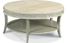 """Olio - Well-Edited Cocktail Table (Aged Dove Grey finish) Drexel 40""""D x 19""""H fretwork border"""