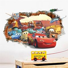 Stickers Cars, Cheap Wall Stickers, Removable Wall Stickers, Wall Stickers Murals, Wall Decals, Auto Cartoon, 3d Cartoon, Disney Cars, Disney Films