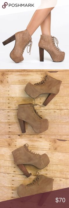 """Jeffrey Campbell Tan Suede Lita Booties Suede booties with lace front closure. 5"""" heel with 2"""" platform. Small scuff on inside of left boot shown in 3rd pic. Jeffrey Campbell Shoes Ankle Boots & Booties"""