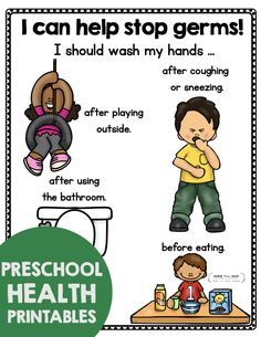 Preschool printables - teach healthy habits - early intervention - hand hygiene - wash your hands - keep kids healthy - for kids - coronavirus and kids - distance learning freebies - kindergarten health and science Preschool Learning Activities, Preschool Printables, Preschool Classroom, Free Preschool, Kindergarten, Health Education, Health Resources, Hand Hygiene, Classroom Posters