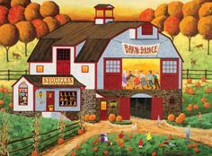 """Art Poulin's Barn Dance"" Charles Wysocki .love the colors in this!"
