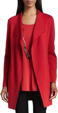 Eileen Fisher Silk-Cotton Interlock Long Jacket