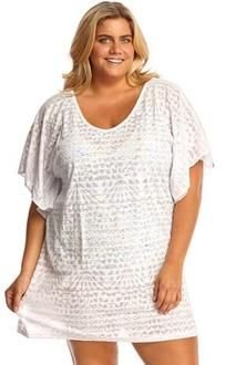 d5d9dfaa261 Dotti Geo Plus Size Muse Flutter Tunic Chic cover-up style comes to the  shoreline with the Geo Muse Flutter Tunic. A feminine flutter sleeve design  and a ...