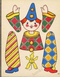 Подвижная игрушка из картона клоун