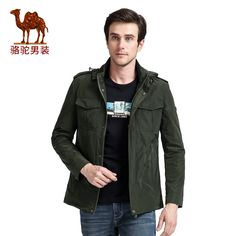 Camel Men's Jacket Western Style Casual Stand Collar Loose Comfortable Outerwear