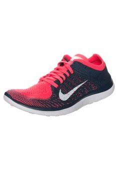 Nike Performance FREE 4.0 FLYKNIT - Laufschuhe Natural Running - hyper punch/white sqdrn blue - Zalando.de