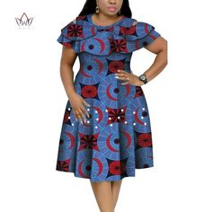 Image of New Bazin Riche African Ruffles Collar Dresses for Women Dashiki Print Pearls Dresses Vestidos Women African Clothing African Dresses Plus Size, Short African Dresses, African Print Dresses, African Print Fashion, African Fashion Traditional, African Print Dress Designs, Latest African Fashion Dresses, African Attire, Clothing Accessories