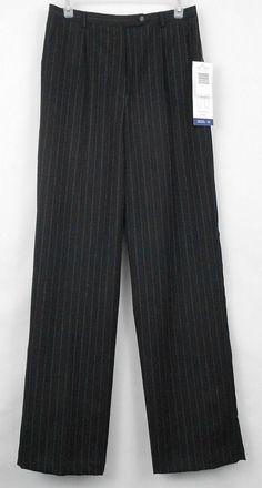 Sag Harbor Sz 10 100% Wool Black w/ Gray Pin Stripe Lined Dress Pants  #SagHarbor #DressPantsCareerPants