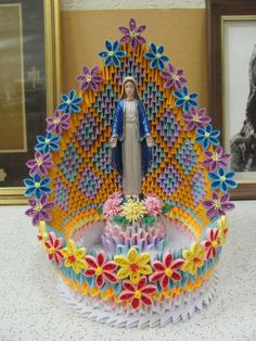 the shrine of Our Lady of grace will protect you from all danger this shrine created by me Más 3d Origami Swan, Origami Dragon, Origami Flowers, Origami Paper, Quilling Designs, Paper Quilling, Kirigami, Origami Pencil Holder, 3d Origami Tutorial