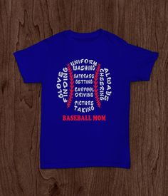 Baseball Mom,  Adult T Shirt, Cheering Uniform Picture Red White Blue