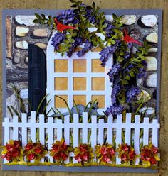 A stunning CountryScapes scene by Susan Tierney-Cockburn! Susan put her scene together with an array of CountryScapes dies: Carolina Window & Shutters, Nantucket Arbor Arbor & Picket Fence, Garden Edges Rose Hedge, Wisteria Vine, and a cat and Cardinal from Critters 1. She laid her scene on Els van de Burgt Studio's Through the Lens Patterned Cardstock (Stone Series) and our Soft Finish Cardstock in Pewter. Beautiful!
