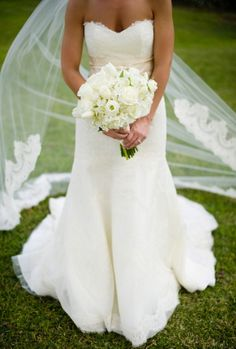 Simple and Classic. Lace Strapless A Line Wedding Dress