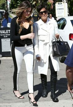 8c167333a9 Matching  Khloe Kardashian and her mother Kris Jenner stepped out in  monochrome ensembles as they filmed scenes for their reality TV show on.