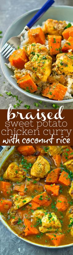 4 Points About Vintage And Standard Elizabethan Cooking Recipes! Sweet Potatoes And Chicken Are Slowly Braised In A Flavorful Coconut Milk Curry Sauce And Served Over A Ton Of Fluffy Coconut Rice For A Healthy And Flavor-Packed Version Of Chicken Curry Yummy Chicken Recipes, Healthy Dinner Recipes, Indian Food Recipes, Cooking Recipes, Easy Recipes, Yummy Food, Tasty, Coconut Milk Curry, Coconut Rice