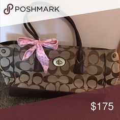 Large Coach tote Brown coach tore with gold hardware and pink accents. Coach Bags Totes
