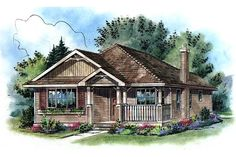 Traditional Style House Plan - 2 Beds 2 Baths 1000 Sq/Ft Plan #18-1040 Exterior - Front Elevation - Houseplans.com