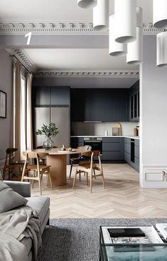 Home Room Design, Dining Room Design, Interior Design Living Room, House Design, Apartment Interior, Apartment Design, Home Decor Kitchen, Home Kitchens, Pastel Home Decor