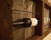 Reclaimed barnwood wine rack - with barn wood backing ** 10% Off Sale **