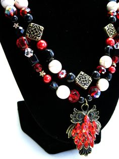 Harry Potter Collection: Red Owl Double Strand Necklace Set by HuntJewelz