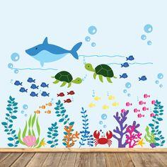 Ocean Theme Vinyl Wall Decal Set Whale Sea by wallartdesign, $99.00