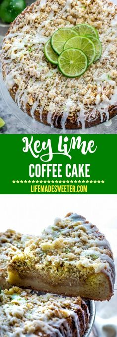 Key Lime Coffee Cake with a buttery streusel topping and white chocolate drizzle makes the perfect breakfast or afternoon treat! Best of all, it's so EASY to make with NO mixer required!